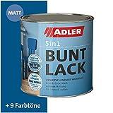ADLER 5in1 Buntlack für Innen und Außen - Matt - 125 ml - Wetterfester Lack und Grundierung für Holz, Metall & Konstoff, RAL5010 Enzianblau