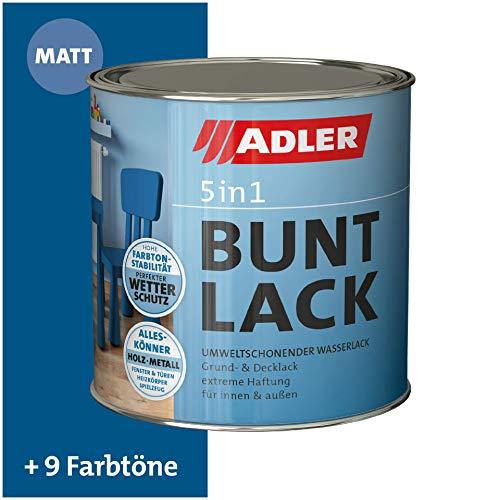 ADLER 5in1 Buntlack für Innen und Außen - Matt - 125ml- Wetterfester Lack und Grundierung für Holz, Metall & Kunststoff RAL5010 Enzianblau