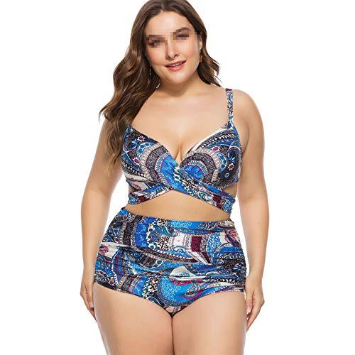 WANXJM Maillots de Bain Taille Plus Coupe intégrée pour Femmes, Maillot de Bain Chaud Taille Haute Taille Haute, Fille avec Maillot de Bain Bikini Maillots de Bain,Bleu,5XL