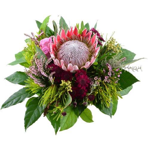 Blumenversand - Blumenstrauß versenden - zum Geburtstag - herbstlicher Strauß mit King-Protea - mit Gratis - Grußkarte bundesweit versenden