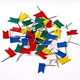 murando - Markierungsfahnen 200 St. - 5 Farben Mix: weiß blau rot grün gelb - Ideal für Pinnwand Weltkarte - Pinnadeln - Flaggen - Fähnen - Reißnägel - Markierfähnchen - Markierungsnadeln