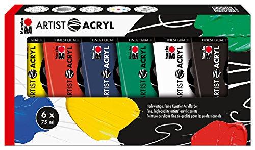 Marabu 1220000000087 - Artist Acryl Sortierung Grundfarben, feine Acrylfarbe in Künstlerqualität, auf Wasserbasis, pastose Konsistenz, hoch pigmentiert, sehr gute Brillanz und Deckkraft, 6 x 75 ml
