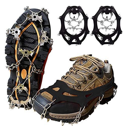 YYSY Steigeisen für Bergschuhe,Schuhkrallen mit 19 Edelstahl Zähne Spikes,Steigeisen Grödel Eisspikes für Klettern Bergsteigen Trekking High Altitude Winter Outdoor (schwarz, L(41-44))