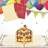 Sethexy 3D Tarjetas De Felicitación De Cumpleaños con sobres Surgir Carrusel Tarjeta de Acción de Gracias Tarjeta de aniversario por la familia Mejor amigo Novio Novia