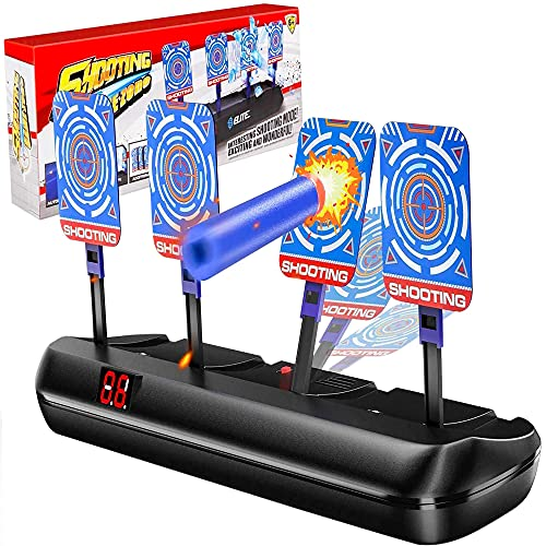 Myriad365 Electronic Shooting Nerf Targets with Digital Scoring, Auto Reset Electric Target for Fortnite Nerf Guns, Perfect Nerf Gun Toy – Includes 4 Digital Targets, 10 Foam Darts, 1 Wrist Strap