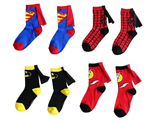 Kids Socks Cartoon Superman Spiderman Batman The Flash Design Children Cotton Socks Unisex Boys Girls (4-6 years old, Superhero Set)