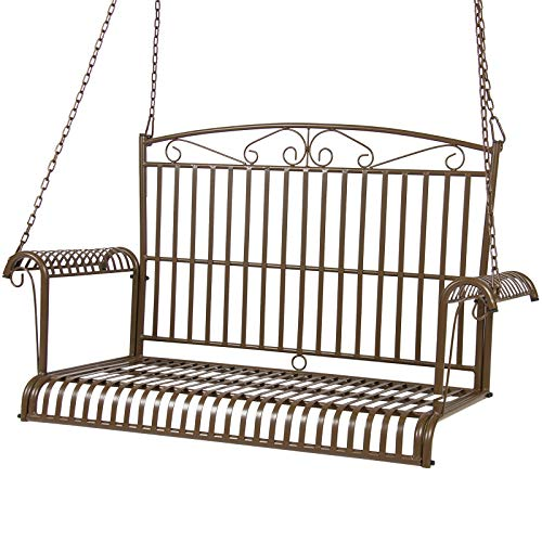 Best Choice Products Iron Patio Hanging Porch Swing Chair Bench Seat Outdoor Furniture w/Curved Armrests - Brown