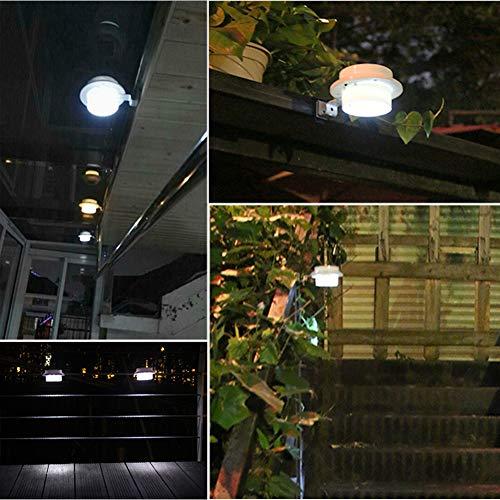 Solar Light Outdoor Waterproof MAYSAK Solar Powered LED Deck Light Gutter Light Battery Operated Wall Light Landscape Lighting Security Lamps for Garden Back Yard Pathway (White)