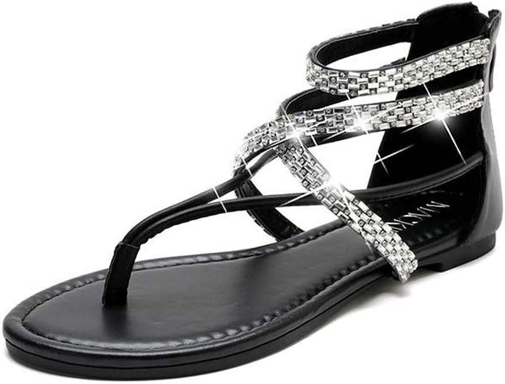 MACKIN J Max 50% OFF Bombing free shipping 566-1 Women's Flat Sandals Gladiator Rhinestone