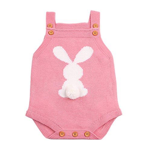 Body en tricot pour nouveau-né, garçons, filles, barboteuse, lapin, combinaison de survêtement - Rose - 6 mois