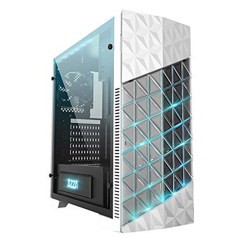 AZZA Onyx 260x RGB Gaming Fall mit Tempered Glas Fenster und Wasser Bereit Kühlung, Mid Tower–Weiß