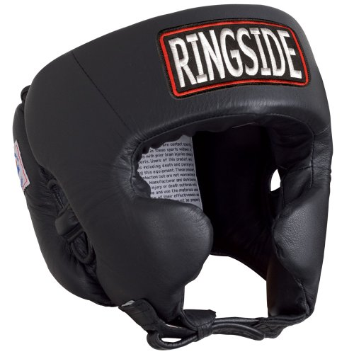 Ringside Competition Boxing Muay Thai MMA Sparring Head Protection Headgear with Cheeks, Black, Large
