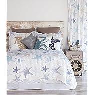 "North End Decor Starfish Reef Coastal Quilt, Twin 2-Piece Bedding Sets, 68""x89"", White"