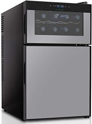 "NutriChef PKTEWBC240 Wine Cooler and Mini Fridge – Two Door - 6 Bottle Wine Chiller Cellar Top - 16 Can Beverage Refrigerator Bottom - Digital Touch Screen – 29.1"" Height"