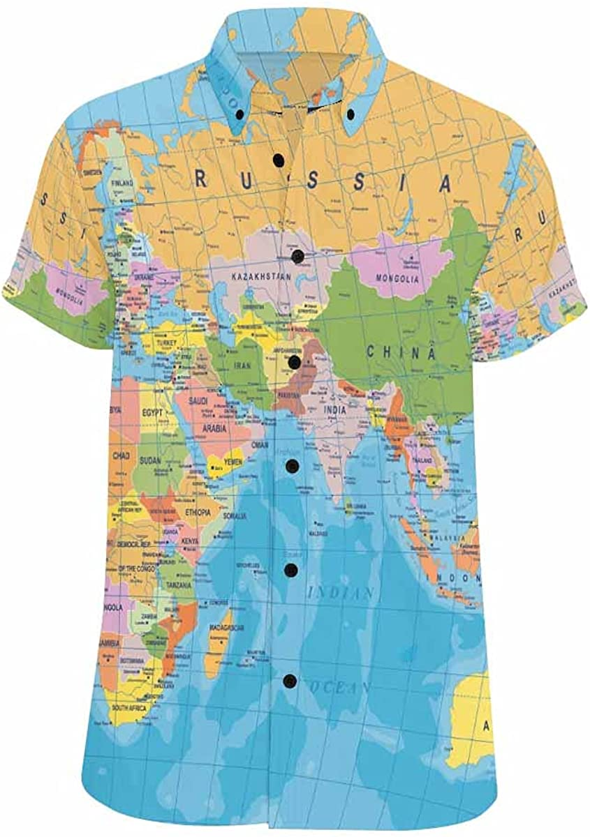 InterestPrint Colored World Map Men's Looser-Fit Short-Sleeve All Over Printed Button Shirt