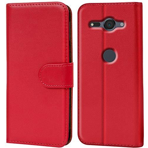 Verco Xperia XZ2 Compact Hülle, Handyhülle für Sony Xperia XZ2 Compact Tasche PU Leder Flip Hülle Brieftasche - Rot