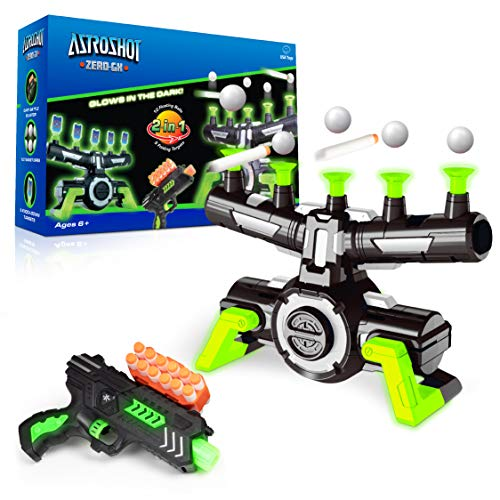 USA Toyz Astroshot Zero GX Glow in The Dark Shooting Games - Target Practice Toys for Boys and Girls with Foam Dart Gun, 10 Floating Ball Targets, and 5 Flip Targets