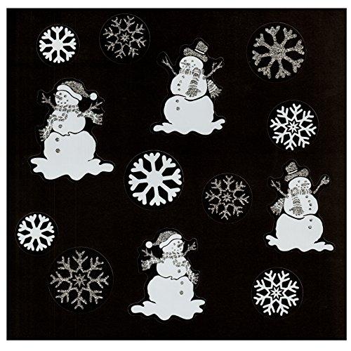 deko-punkt-roth Fensterbild Set 13-TLG. Schneeflocken Eiskristalle und Schneemänner transparent weiß/Silber - Weihnachten Winter Fenstersticker Aufkleber Fensterdekoration