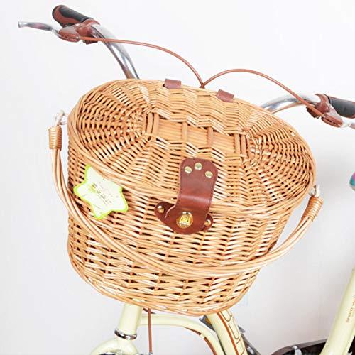 Cesta de bicicleta de mimbre del manillar delantero para adultos - Canasta de bicicleta de Willow Woven con tapa y correas Manijas para salir y comprar comestibles