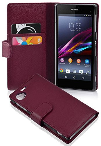 Cadorabo Hülle für Sony Xperia Z1 COMPACT in Bordeaux LILA – Handyhülle aus Strukturiertem Kunstleder mit Standfunktion & Kartenfach – Hülle Cover Schutzhülle Etui Tasche Book Klapp Style