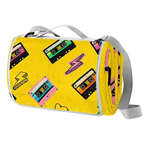 TIZORAX - Manta de pícnic con cinta de casete retro, resistente al...