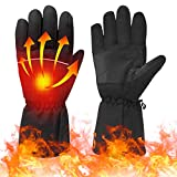 Lixada Battery Heated Gloves, Warm Gloves for Men Women Winter Thermal Gloves, 113℉ Heating Gloves, Waterproof Touchscreen Ski Gloves, for Cycling Hiking Skiing Snowboarding Gloves