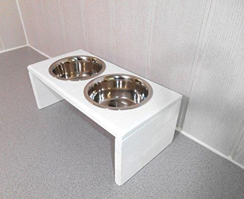 Futternapf / Hundenapf für Ihren Vierbeiner, tolle Futterbar mit 2 Edelstahlnäpfen mit je 750 ml. Handgefertigtes Hundezubehör und Tierbedarf. Lackierung in weiß (487p2dc)