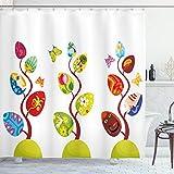 ABAKUHAUS Kids Duschvorhang, Magisches Baum-Ostern-Thema, mit 12 Ringe Set Wasserdicht Stielvoll Modern Farbfest & Schimmel Resistent, 175x180 cm, Mehrfarbig