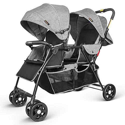 Besrey broers en zussen dubbele kinderwagen voor tweelingen of broers Met regenbescherming. Van geboorte tot 3 jaar. grijs.