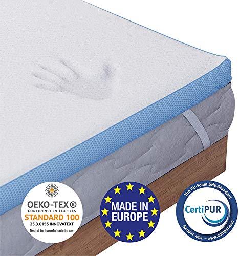 Dreamzie - Matratzen Topper 180 x 200 cm - Memory Schaum mit Hoher Dichte von 45 kg/m3 - Orthopädische Matratzenauflage Oeko TEX Zertifiziert - 4 Elastische Eckbänder 30cm