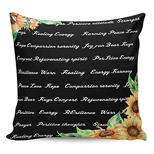 Litter Star Pillowcase Throw Pillow Covers Blooming Sunflowers with Inspiring Quotes Decorative Square Cushion Cover Pillow Cases for Sofa Couch Bedroom Living Room Black Back 24x24in
