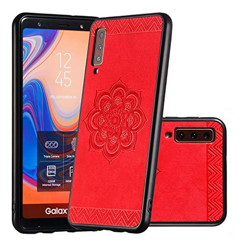 MeterMall Beste voor Smart voor Voor Samsung A750/A7 2018/A90 5G Smartphone Shell Mode Bloem Ontwerp Telefoon Cover Screen Camera Protector rood Samsung A750 / A7 2018