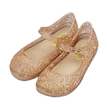 iFANS Girls Princess Jelly Sandals Mary Jane Bird Nest Layered Lines Flat Gold