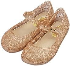 iFANS Girls Princess Jelly Sandals Mary Jane Bird Nest Layered Lines Flat Gold, 6 Narrow Little Kid