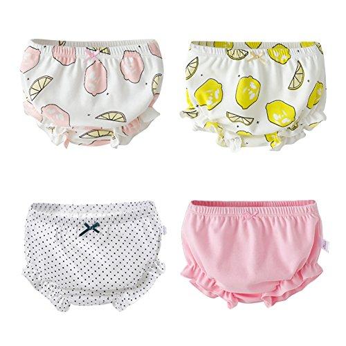 eipatu キッズ ベビー ガール パンツ 女児 リボン コットン 4枚セット ドット レモン柄 女の子 下着 子供パンツ 110cm