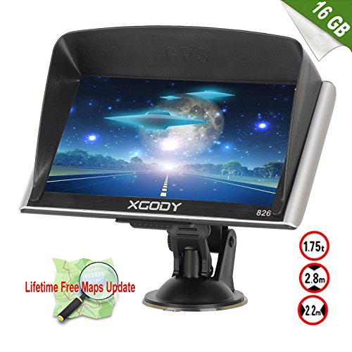 Xgody 826 7'' 8GB Capacitive Touchscreen SAT NAV Car Truck GPS Navigation System Navigator with 8GB TF Card and Sunshade Visor Lifetime Maps for Mexico Canada USA