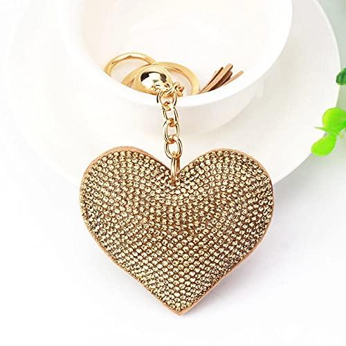 DERS Llavero en forma de corazón de cuero borla llavero metal cristal llavero chica Rhinestone encanto bolsa coche colgante joyería regalo oro caqui