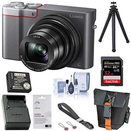 Panasonic LUMIX ZS100 4K Digital Camera, 20.1 Megapixel, 10X Zoom DMC-ZS100S (Silver), Battery, Charger, Bag, Peak Design Wrist Strap, FotoPro UFO 2 Tripod, 32GB SD Card, Cleaning Kit, LCD Protector