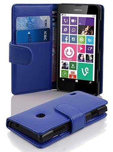 Cadorabo Hülle für Nokia Lumia 630/635 in KÖNIGS BLAU – Handyhülle aus Strukturiertem Kunstleder mit Standfunktion & Kartenfach – Hülle Cover Schutzhülle Etui Tasche Book Klapp Style