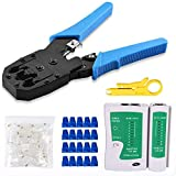 Gaobige RJ45 Crimp Tool Kit, Cat5 Cat5e Crimping Tool with 100 RJ45 Cat5 Connectors, 20 RJ45 Cat5 Cat6 Connector Covers, Cable Tester, Network Wire Stripper
