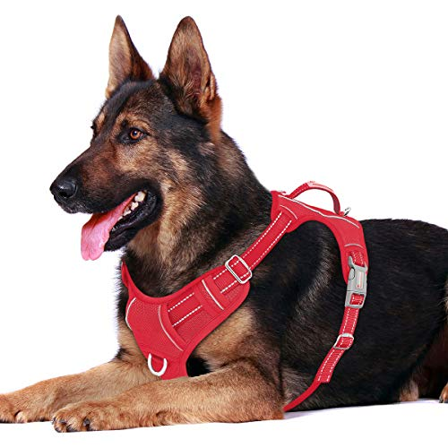 BARKBAY No Pull Dog Harness Front Clip Heavy Duty Reflective Easy Control Handle for Large Dog Walking with ID tag Pocket(Red,XL)