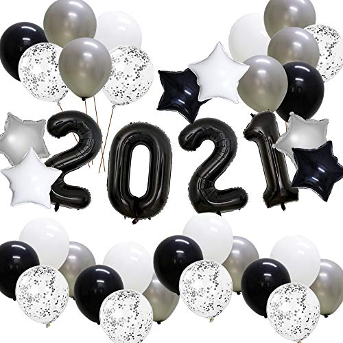 KAXIXI Graduation 2021 New Years Eve Party Supplies, Black 40 Inch Foil 2021 Balloons, Star Foil Balloons, Latex Balloons for Graduation Prom Night Wedding Anniversary Party (38PCS)