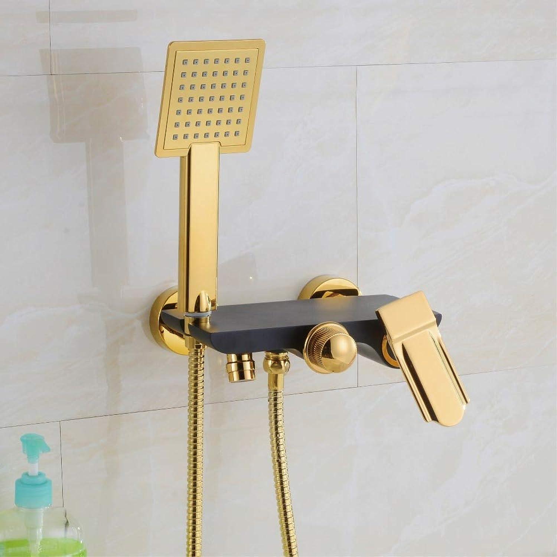 Antike Messing Handheld Bad Duschkopf Wasser sparende Goldplatte schwarz Handbrause Set Badezimmer Duschen Wasserhahn Badewanne Mischbatterie, gelb