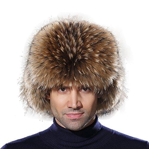 URSFUR Warme Unisex Echte Fellmütze Waschbär Fell Russland Wintermütze Trappermütze Ushanka L-Raccoon