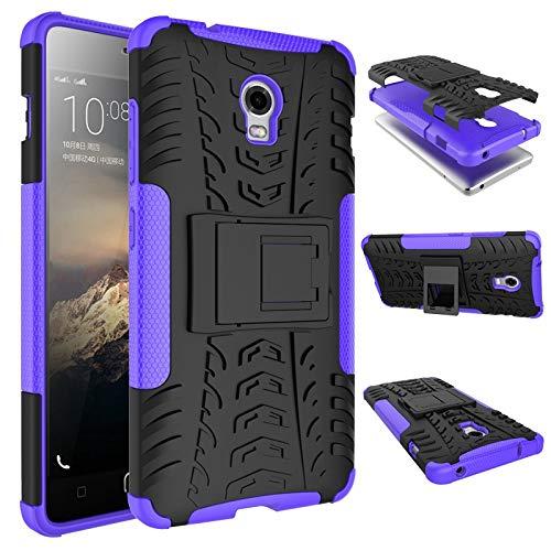 pinlu Funda para Lenovo Vibe P1 Smartphone Doble Capa Híbrida Armadura Silicona TPU + PC Armor Heavy Duty Case Duradero Protección Neumáticos Patrón Púrpura