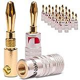 NAUC Conectorenroscable en forma de banana, para cable de soldadura6mm² hasta 24 k dorado, No de plástico, 24x Nakamichi