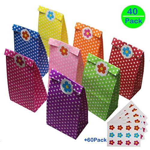 Partytüten Papier, Kindergeburtstag Papiertüten, Butterbrottüten,40 Stück mit 60 Aufkleber - Ideal für die Geburtstagsfeier Babyparty Hochzeit Geschenk Papiertasche, Deko Taschen