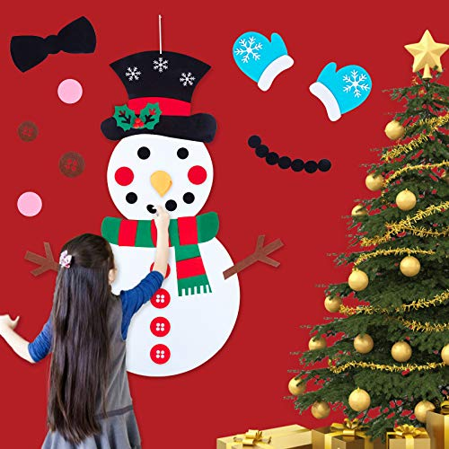 Minetom Felt Christmas Snowman for Toddlers, 30 Pcs Cute Christmas Ornaments Kit with Hook and Loop Nativity Set Crafts Gifts, for Kids DIY Christmas Home Door Classroom Hanging Wall Decorations