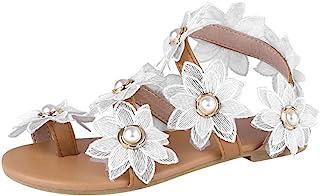 Sandalias Mujer Verano 2020 Bohemias Perlas Florales Sandalias Planas Cómodos Casual Zapatos de Playa Punta Abierta Blanco...