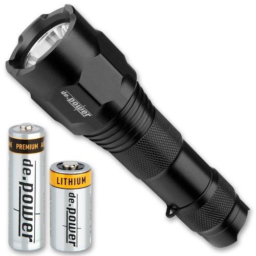 de.power LED Dual Batterie Taschenlampe 1x AA LR6 und 1x CR123A, 271 Lumen (ANSI) DP-024AACR-C